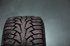 Close up photo of winter tire in Finland. Royalty Free Stock Photography