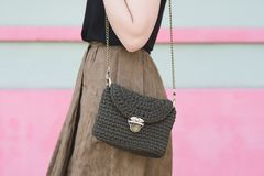 Close up photo of woman bag with fashionable woman Stock Photo