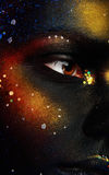 Close up photo of woman eye and dark face art Stock Photos