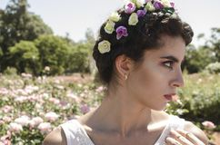 Close Up Photo of Woman With Floral Headband stock image