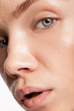 Close up photo of woman with wet skin Royalty Free Stock Images