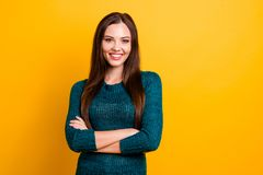 Close up photo wonderful amazing her she lady white teeth arms crossed long straight hair self-confident easy-going. Kindhearted wear green knitted pullover royalty free stock photo