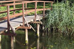 Wooden bridge, close-up Stock Photos