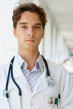 Close-up photo of a young serious doctor Royalty Free Stock Image
