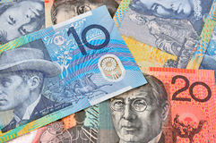 Close-up photograph of Australian dollars Stock Photo