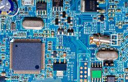 Close-up photograph of a blue circuit board Royalty Free Stock Photo