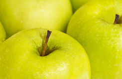 Close up photograph of delicious green apples Stock Photos