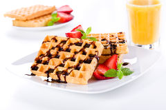 Breakfast With Waffles Royalty Free Stock Images