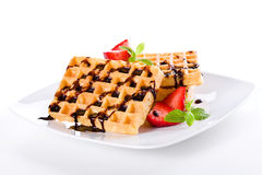 Waffles Chocolate And Strawberries Stock Image