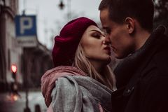 Close Up Photograph of Woman Kissing Man Royalty Free Stock Image