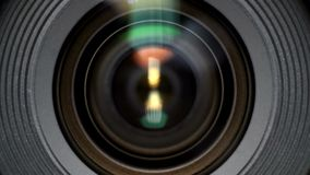 Close-up of a photographic lens stock video