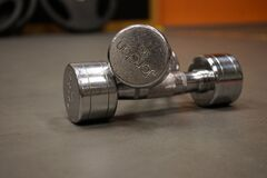 Close Up Photography of 2 Grey Dumbbell Stock Photo