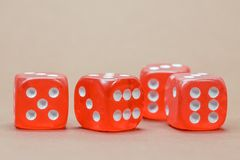 Close Up Photography of 4 Red White Dice Royalty Free Stock Photography