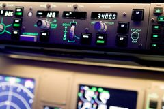 Close up photography of a Boeing 777 autopilot royalty free stock photo