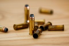 Close Up Photography of Brass Bullets Stock Image
