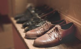 Close-Up Photography of Brown Leather Shoes stock photo