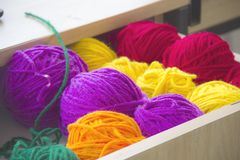 Close-up Photography of Colorful Yarns royalty free stock photo