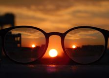 Close-up Photography of Eyeglasses at Golden Hour Royalty Free Stock Photography