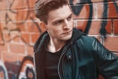 Close-up Photography of Man Wearing Leather Jacket Royalty Free Stock Photography