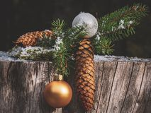 Close-up Photography Of Pine Cones And Bauble stock photo