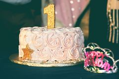 Close-up Photography of Pink Birthday Cake Royalty Free Stock Photography