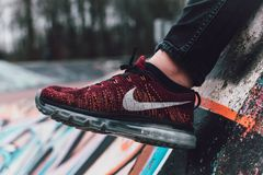 Close-Up Photography of Red and Black Nike Running Shoe Royalty Free Stock Photography