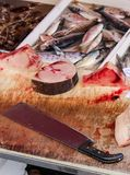 Close up photography of sliced dead fish on a wooden table with blood and big cleaver. Animal abuse concept, cruelty to animals. Conservation of endangered royalty free stock photos