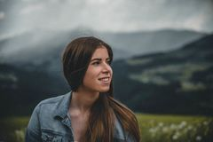 Close-Up Photography of a Smiling Woman stock photography
