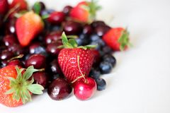 Close-Up Photography of Strawberries And Cherries Royalty Free Stock Images