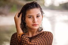 Close-Up Photography of a Woman royalty free stock photography