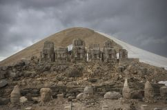 Front view of Mount Nemrut Ruins stock images