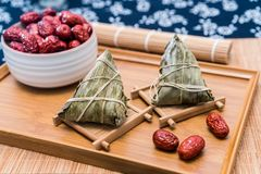 Close-up Photos Of Zongzi And Jujube On Dragon Boat Festival Royalty Free Stock Images