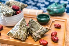 Close-up photos of zongzi and jujube on Dragon Boat Festival stock image