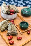 Close-up photos of zongzi and jujube on Dragon Boat Festival stock photos