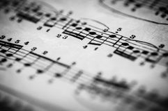 Close up of piano classic music score and notes Royalty Free Stock Photo