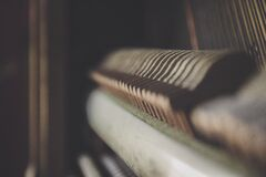 Close up of piano hammers Stock Photography
