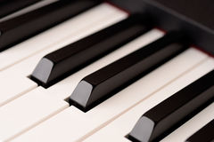 Close-up piano keyboard with shallow depth of field Stock Image