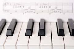 Close-up piano keyboard. Sheet music on background is copyright free. (Wolfgang Amadeus Mozart Royalty Free Stock Photos