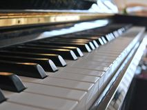 Close up of piano with heavy background blur. royalty free stock photos