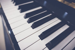 Close up of Piano keys with selective focus ,Filtered image proc Stock Photo