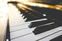 Close up of Piano keys with selective focus ,Filtered image proc Stock Photography
