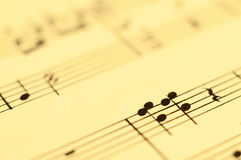 Close up of music score Royalty Free Stock Photo