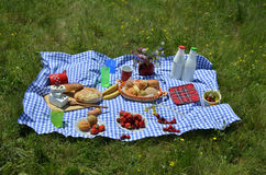Close Up of Picnic on a Meadow Stock Photo