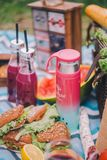 Close-up picnic in nature. Sandwiches, cake, thermos, drinks and grapes royalty free stock photography