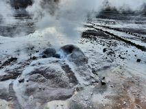 An active geyser close up at Geysers del Tatio field near San Pedro de Atacama in Chile royalty free stock images