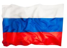 Close-up picture of big silky ruffled Russian flag stock photo