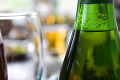 Close up picture of bottle of beer and glass Royalty Free Stock Image