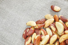 Close up picture of Brazil nuts on linen background. Royalty Free Stock Images