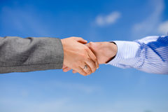 Close-up picture of business people handshaking on Royalty Free Stock Images