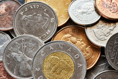 Close up picture of Canadian dollar coins. Royalty Free Stock Photos